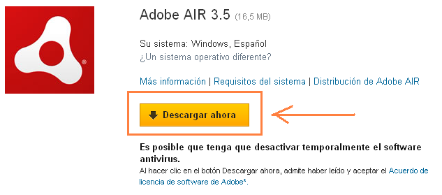 Captura pantalla Adobe AIR