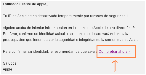 Captura pantalla mensaje fraudulento Apple