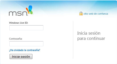 Phishing página registro Hotmail