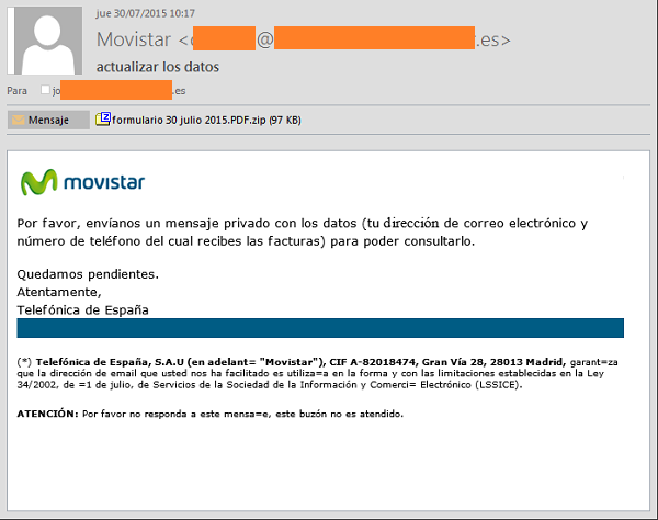 Phishing Movistar: actualiza tus datos