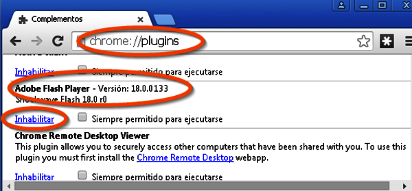 Captura de la desactivación del Flash Player en chrome