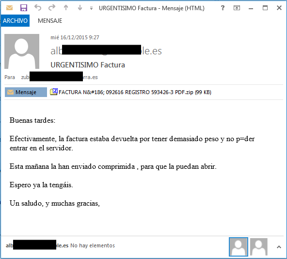 Captura del mail de la falsa factura
