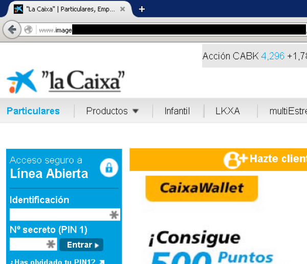 Captura de la falsa web de la caixa