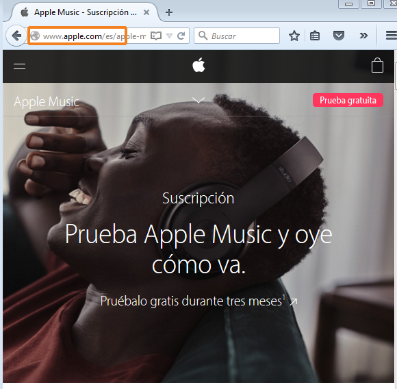 Página web oficial de Apple