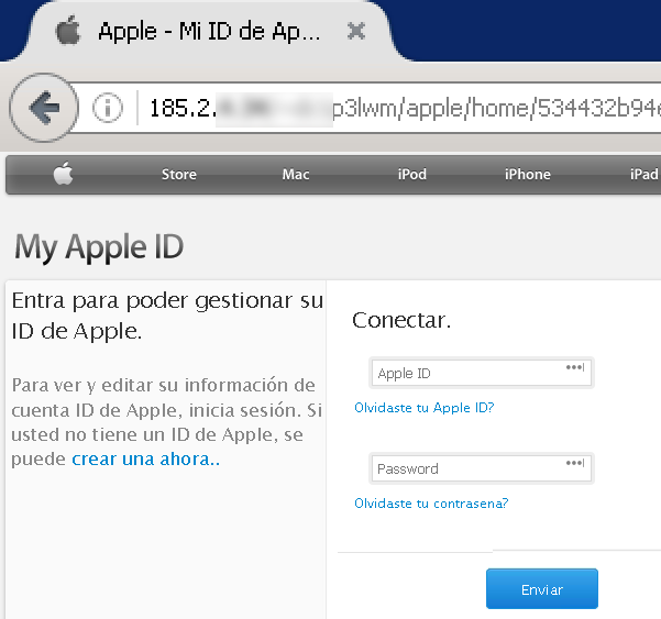 Phishing de Apple captura de credenciales