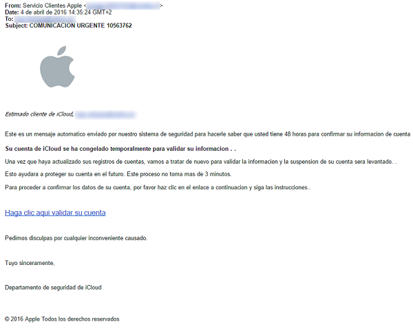Correo del Phishing a Apple