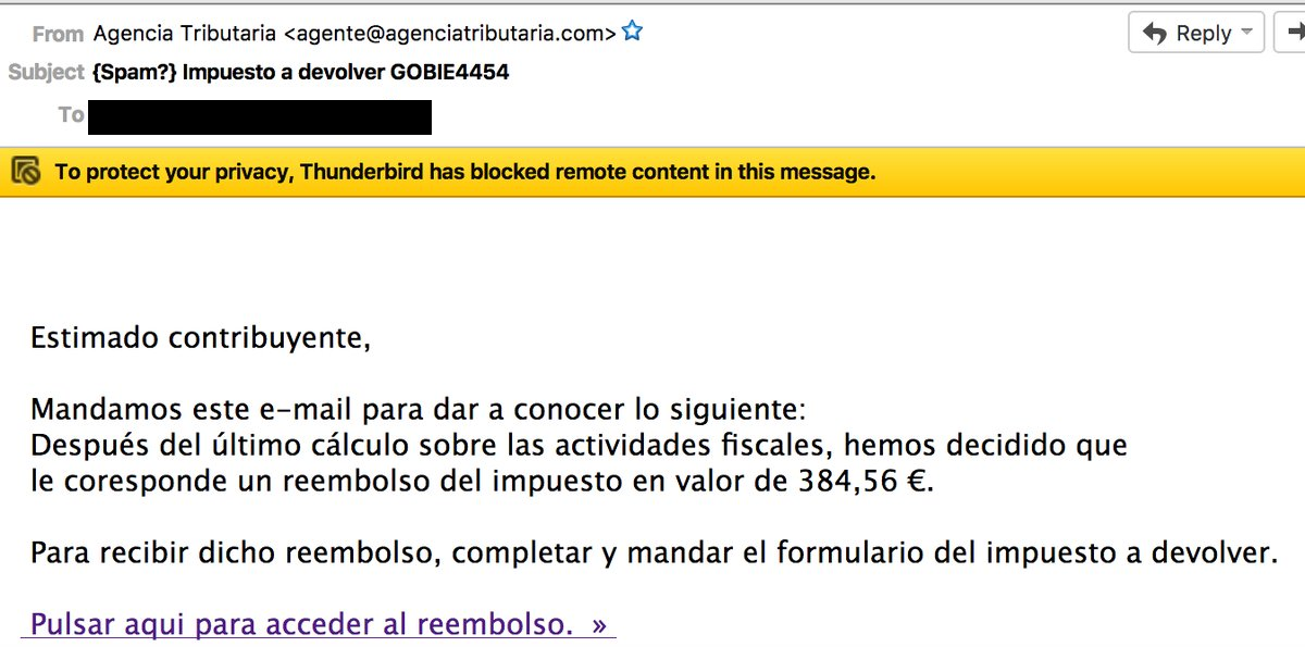 Email phishing Agencia Tributaria