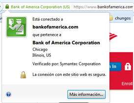 Página web del Bank of América