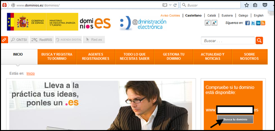 Captura de la web dominios.es/dominios