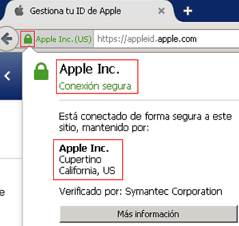 Certificado digital de la página de Apple