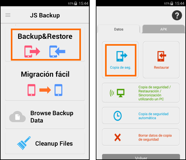 Captura de la aplicación JS backup,