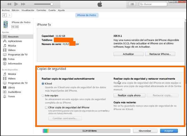 Captura de pantalla de las copias de seguridad en iTunes