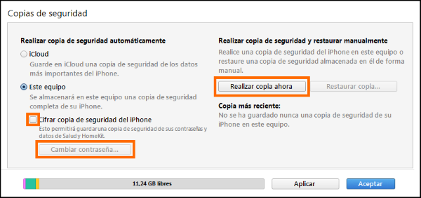 Captura de la copia en iTunes, opciones de cifrado de la copia.