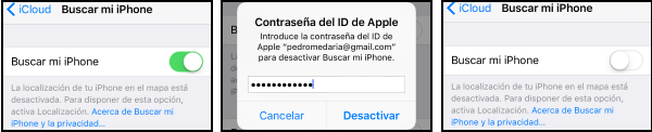 Captura del iPhone para desactivar Buscar mi iPhone