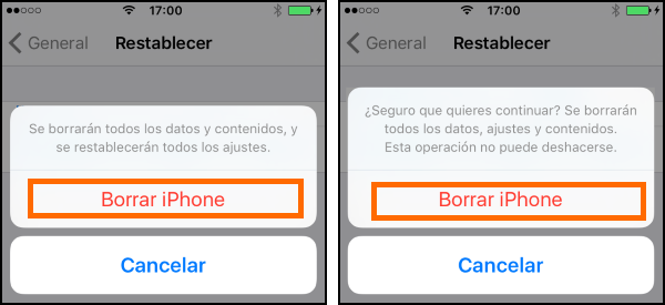Captura del doble confirmación antes del borrado completo del iPhone