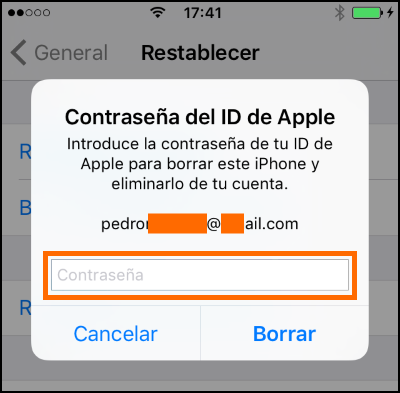 Captura de la autenticación previa al borrado del iPhone