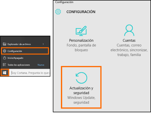 Captura del acceso a la opción de actualización y seguridad en Windows 10