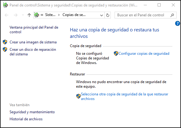 Captura de ventana de Copias de seguridad y restauración (/Windows  7) en Windows 10