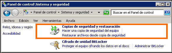 Acceso a Copias de seguridad desdel Sistema y Seguridad en Windows 7