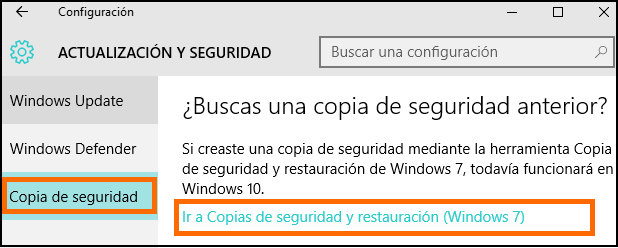 Captura de pantalla del acceso a Copias de Seguridad y Restauración (Windows 7) desde Windows 10