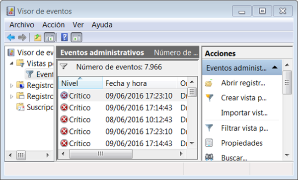 Visor de eventos de Windows