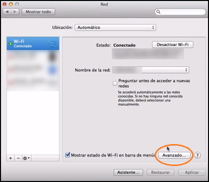 Captura de pantalla de ventana de MAC de las preferencias de red del sistema.