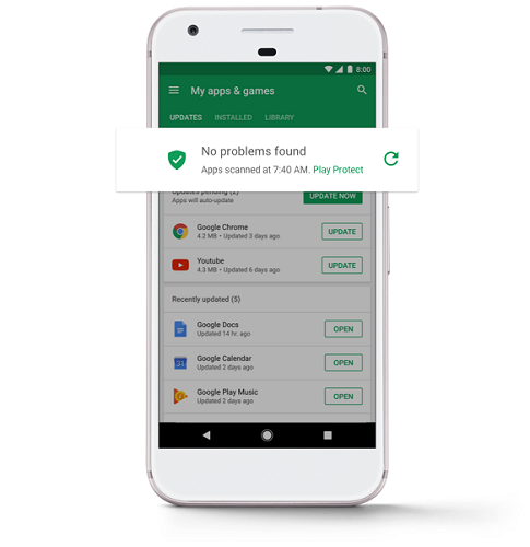 como activar Google play protect