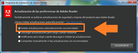Captura de pantalla Adobe Reader
