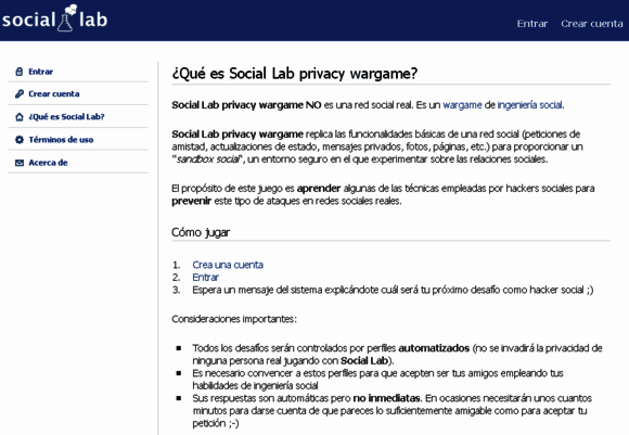 Captura pantalla web Social Lab