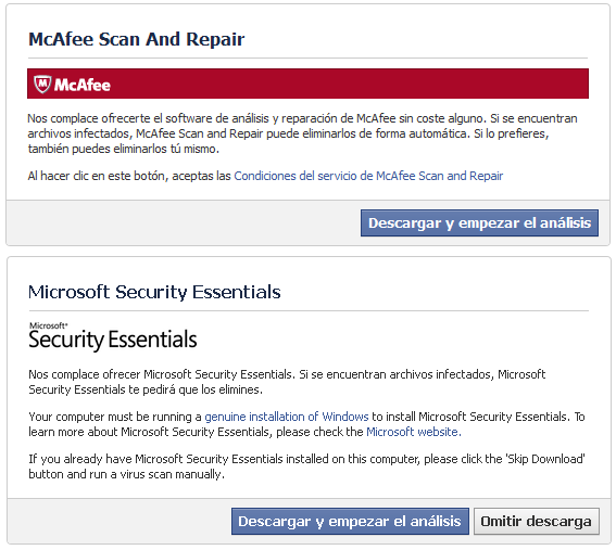 Descargar McAfee's Scan and Repair y Microsoft's Security Essentials
