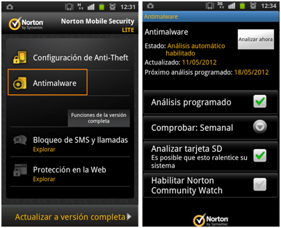 Herramienta Norton Mobile Security Lite