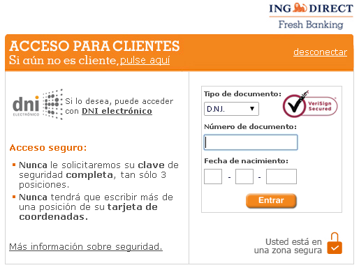 Página original de ING DIRECT