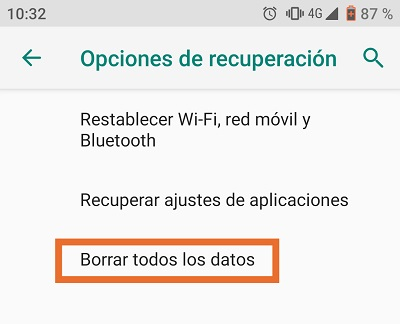 Paso intermedio para borrar los datos del dispositivo