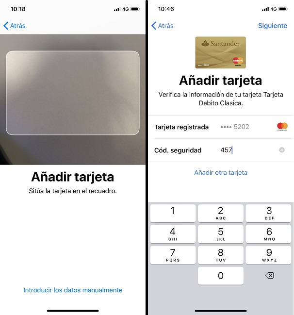 Añadir tarjetas en Apple Pay de forma manual o mediante cámara