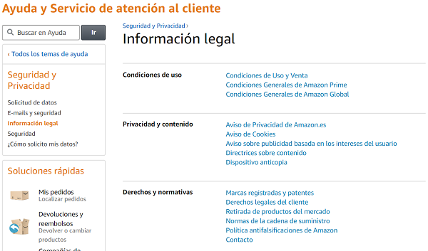 Información legal de Amazon