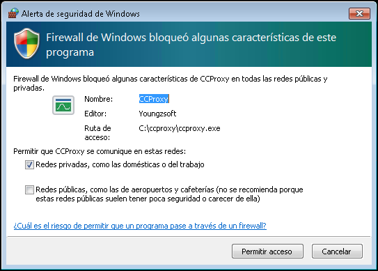 Permitir que el CCProxy se comunique con estas redes