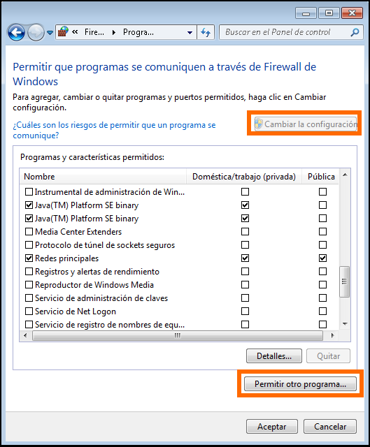 Permitir qué programas se comuniquen a través del Firewall de Windows